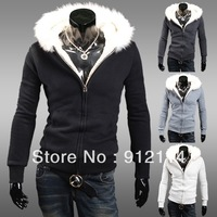 2013 new high-grade fur collar thicken fleece hoodies sweatshirt for men, mens casual slim white hoodies Sweaters,M-XXL,W61