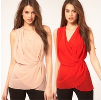 Free ship lady/women's t shirt Cross-layered design wrapped waist chiffon shirt waist solid