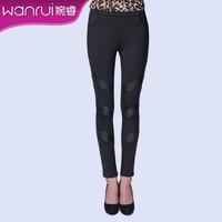 Women's 2013 spring PU patchwork elastic slim pencil pants fashion trousers female