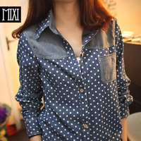 Mixi spring small fresh japanese style long-sleeve dot denim shirt leather patchwork shirt drop shipping