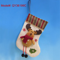 """FREESHIPPING 11"""" Santa Stockings with Christmas Deer Puppet Cute Christmas Sock 2013 NEW"""