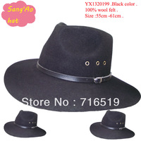 Fashion Black large  brim cowboy hats100% wool without lining and could print logo and leather strap and sweatband for men ,kids