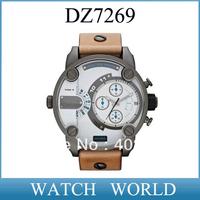 HK post free shipping DZ 7269 men's fashion watch DZ7269 brown leather Wristwatches+original box