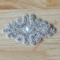 free shipping 2014 new rhinestone and pearl embellishments motif designs hot fix iron on  transfers RAJ28