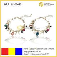 Min order $15 ( mix order )  free shipping wholesale variform pendants colorful crystal bracelet for gentlewomenly