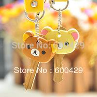 60pcs/lot  New Kawaii Rilakkuma Series Relax Bear Keychain Key Met Protective  Pvc Key Cover Cartoon Key Holder Free Shipping
