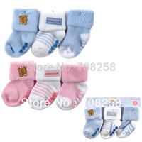 3pair/lot- USA Luvable Friends Baby Boys Girls Bear Cute Non- Skid Baby Socks ,6-18 months