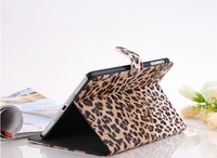Free shipping leather case for ipad mini with Intelligent Magnet Ultrathin Fashion leopard back cover for ipad mini