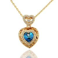 LN561 18K Gold Plated Rhinestones Hearts Pendant Necklaces Made of Genuine Austrian Crystals Health Care Nickel Free Jewelry