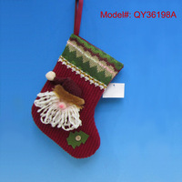 "9"" Christmas Socks Santa Stocking with Santa Head Puppet Christmas Gifts Stockings Xmas Decorations Ornaments"