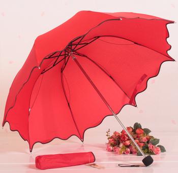 Solid color ruffle umbrella scalloped three fold umbrella apollo umbrella hemming