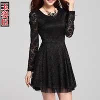 Hot Free Shipping Women Sexy Dresses Spoon Neck Long Sleeve Lace Sakter Dress Slim YP-08123