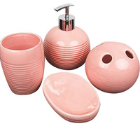 Romantic powder ceramic bathroom four piece set bathroom set bathroom supplies kit pink