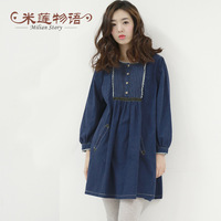 HOT SALE 2013 plus size clothing denim one-piece dress plus size dress  FREE SHIPPING