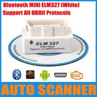 New Arrival Super mini elm327 white support all obdii protocols mini elm 327 diagnose interface with bluetooth mini 327 scanner