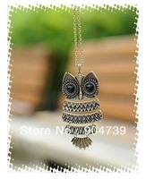 Hot sale 2013 Fashion Retro Vintage big black eyes Owl Long Chain Necklace Free shipping