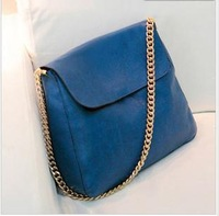 2013  Fashion Women PU  Leather Bag  Gold metal chain Single Shoulder Bag Cheap Handbags