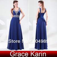 Special Offer! New Free Shipping 1pc/lot Women Blue Deep V-Neck Chiffon Bandage Formal Evening Dress CL4410
