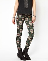 2013 New Fashion Ladies' elegant Skull print elastic Pants Trousers Skinny leggings  casual slim pencil pants brand design pants