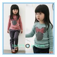 2015 new freeshipping Retail Mickey Minnie girl t shirt long sleeve baby girl garment kids shirts top tees sweatshirt bow