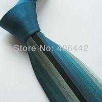 Yibei Mens ties 100% Pure Silk Tie Dark Green Knot Contrast Blue Black Silver Stripe Necktie WITH DUPONT TEFLON FABRIC PROTECTOR