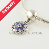 Multilayer Flower 925 Sterling Silver Dangle Spacer Charm Beads with Lock Clip, Compatible With Pandora Style Bracelet YB177A-N