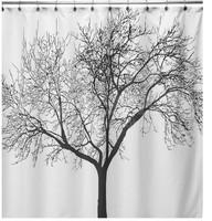 Brand New Elegant Scenery Big Black Tree Design Waterproof Bathroom Fabric Shower Curtain