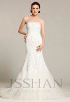 11W003 Strapless Applique Mermaid Tulle Bridal Trained Gorgeous Luxury Unique Brilliant Wedding Dress Free Shipping
