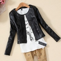 Cotton autumn outerwear leopard print lining motorcycle design slim short leather jacket female PU clothing