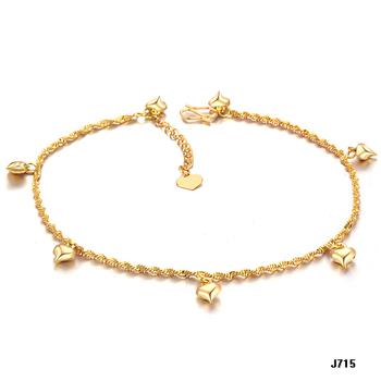 Shining 18K Золото plated anklets loving heart pendants ankle jewelry bracelets ...