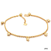 (min order 10$)Shining 18K gold plated anklets loving heart pendants ankle jewelry bracelets 715