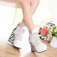 Free shipping 2013 New arrival fashion female Trend zebra print ultra high heels wedges big size ankle boots women's shoes