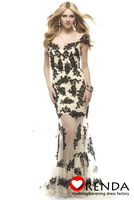 Amazing Charming High Quality Off The Shoulder Cap Sleeve Black Lace Elegant Mermaid Style Formal Evening Dresses Prom 2013