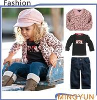 Retail 1pcs Set 2013 Girl Leopard Jacket+Bow T shirt+Jeans 3pcs/set Children Clothes Spring Autumn Garment Kids Soft Sets