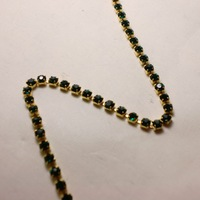 SS6.0 20meters/lot Metal Emerald Color Rhinestone Cup Chain Chatons Strass Free Shipping