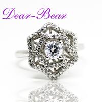 Luxury 925 Sterling Silver Blooming Rose Flower Ring CZ Wedding Ring Jewellery