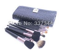 Promotion New 15pcs Black Natural Animal Hair Brushes Kits Makeup Brushes Set & Kit Make Up Tool Cosmetic Brush with Leather Bag