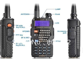 Free Shipping UV-5RE Plus 5W 128CH walkie talkie Baofeng Dual band two way radio VHF +UHF FM 65-108MHz