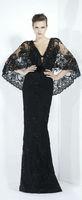 Vintage Style 2013 Zuhair Murad Sexy V-Neck Black Alecon Lace Cap Sleeves Sheath Evening Dresses