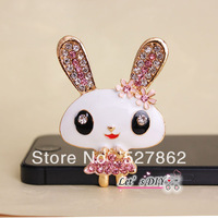 factory direct sell,2 pcs/lot,alloy rhinestone crystal lovely rabbit, phone case DIY accessory decoration material,Free Shipping