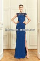 Simple Sample 2014 Navy Blue Chiffon Lace Scoop Floor Length Evening Dresses in Zuhair Murad