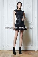 2014 New Fashion Style Round Neck Black Lace MinI Length Ruffles Zuhair Murad Cocktail Dresses