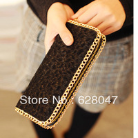 2013 women's fashion horsehair long design wallet leopard print fur purses card holder
