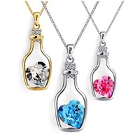 2014 New Arrival Free Shipping Austrian Crystal Wishing Drift Bottle Pendant Necklace Silver Plated Valentine's Day gift