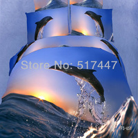FS-651 100% cotton dolphins 3d oil painting bedding set 4pcs blue ocean duvet quilt cover pillowcase comforters king queen size