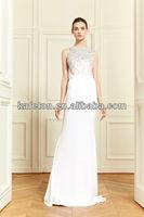 New Arrival 2014 Roud Neck Beaded Sheath White Floor Length Off Shoulder Zuhair Murad Evening Dresses