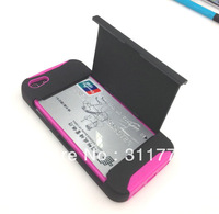 100pcs/Lot 2 in 1 Credit Card Design Hard Silicone Case with Stand For iPhone 5