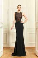2013 New Style V-Neck High Waist Black Lace Floor Length A Line Evening Dresses in Zuhair Murad
