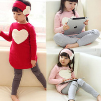 New! Free Shipping! Children Girls Spring & Autumn Clothing Sets,Heart Shape T-shirt + Legging+Headwear 3pcs Sets,Girls Clothes,