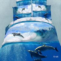 FS-640 dolphins 3d oil painting bedding set 4pcs blue ocean 100% cotton duvet quilt cover pillowcase comforters king queen size